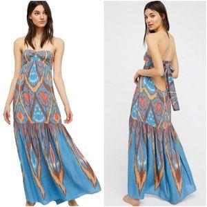 Free People Blue Mojave Printed Maxi Tie Dress XS